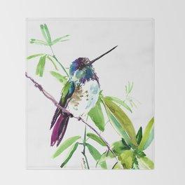 Hummingbird and Green Foliage Throw Blanket