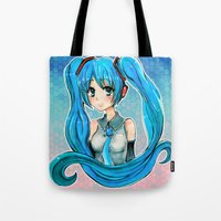vocaloid Tote Bags featuring Hatsune Miku by Tiffany Willis