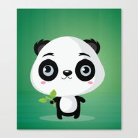 panda Canvas Prints featuring Panda by Maria Jose Da Luz