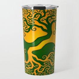 Green and Yellow Tree of Life Yin Yang Travel Mug