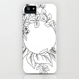 White Floral Circle iPhone Case