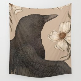 The Crow and Dogwoods Wall Tapestry