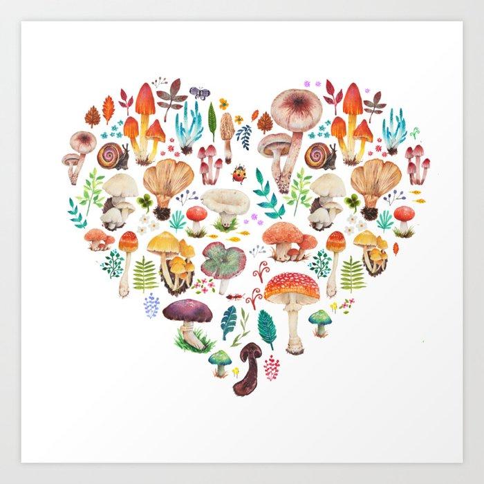 Mushroom heart Kunstdrucke