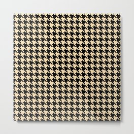 Black and Tan Classic houndstooth pattern Metal Print