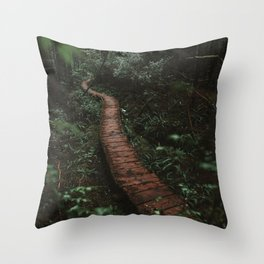 Olympic National Park Forest Trail Throw Pillow