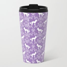 Chinese Crested dog silhouette floral dog breed florals unique pure breed gifts Travel Mug