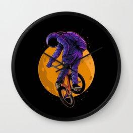 Astronaut Riding Bmx Bike Black Wall Clock