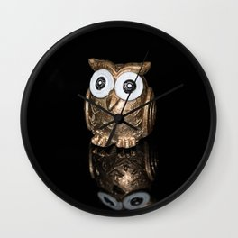 """""""Reflections"""" - Gold Owl Wall Clock"""