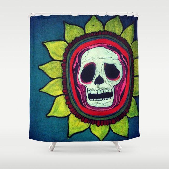 Skull Flower Shower Curtain