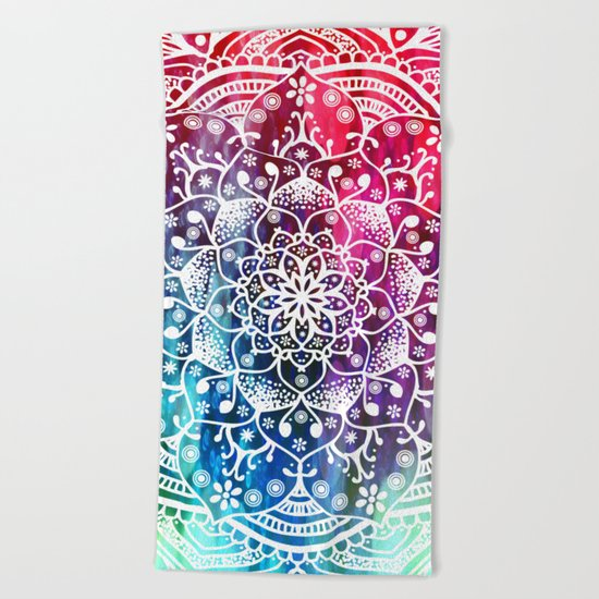 Namaste Red Purple Blue Mandala Beach Towel