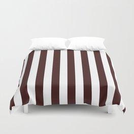 Narrow Vertical Stripes - White and Dark Sienna Brown Duvet Cover