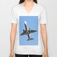airplanes V-neck T-shirts featuring ABX Air Boeing 767-232(BDSF) Miami Take-off Florida Airplanes  by Yan David