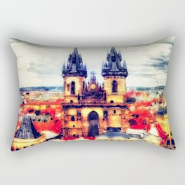 Prague Church Of Our Lady Before Tyn Watercolor Rectangular Pillow