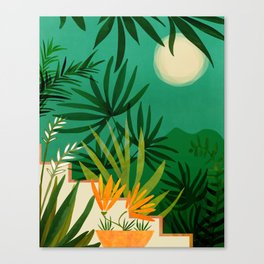Exotic Garden Nightscape Canvas Print