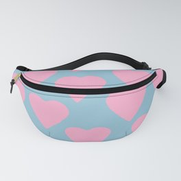 Hearts Pink on Blue Fanny Pack