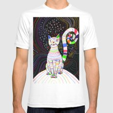 Space cat MEDIUM White Mens Fitted Tee