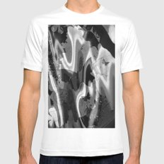psychedelia in black & white White Mens Fitted Tee MEDIUM