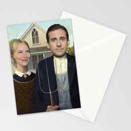 Michael and Holly from the The Office in American Gothic Stationery Cards