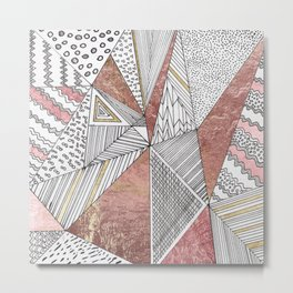 Geometrical hand painted faux rose gold black white abstract pattern Metal Print
