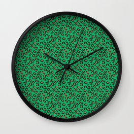 Greenery Green and Beige Leopard Spotted Animal Print Pattern Wall Clock