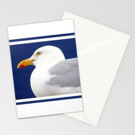Seagull on nautical blue Stationery Cards
