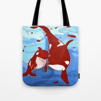 killer whale Tote Bags featuring killer whale by Elettra