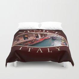 Gondolas On A Small Venetian Canal Duvet Cover