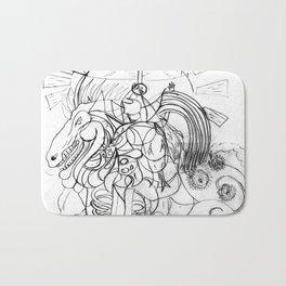 Horse with umbrella Bath Mat
