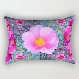 AQUA PINK ROSES & ORCHIDS GREEN-BLACK ART Rectangular Pillow