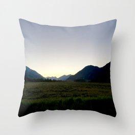 Tranquil mountains dusk Throw Pillow