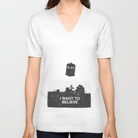 i want to believe V-neck T-shirts featuring I Want To Believe by Nicolas Beaujouan