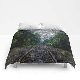 Train Tracks Sparkling Dream : Next Stop Anywhere Comforters