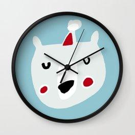 Cute holiday bear blue Wall Clock