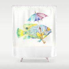 Fishy Fish - Original Watercolor of Yellow Mask Angel Fish with Umbrella Shower Curtain