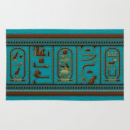 Egyptian Golden Leather hieroglyphs embossed on teal Rug