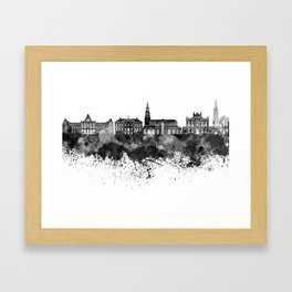 Groningen skyline in black watercolor Framed Art Print