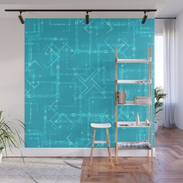 Carved squares and light rhombuses on a sky blue background. Great mood from openwork and carved squ Wall Mural
