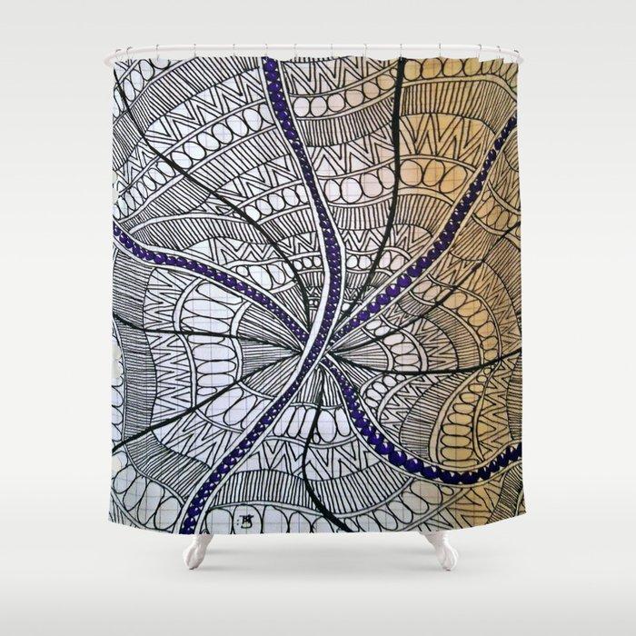 "Hand Drawn ""Purple Beads"" Zentangle Shower Curtain"