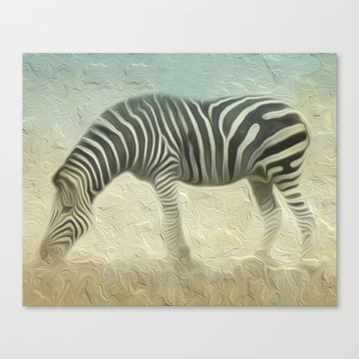 Zebra grazing Canvas Print