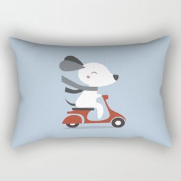 Kawaii Cute Dog Riding A Scooter Rectangular Pillow