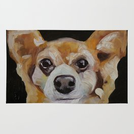 Art work, oil painting, animal, funny dog, puppy, little fox Rug