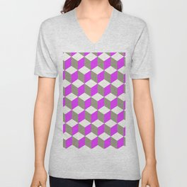 Diamond Repeating Pattern In Ultra Violet Purple and Grey Unisex V-Neck