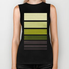 Olive Green Minimalist Watercolor Mid Century Staggered Stripes Rothko Color Block Geometric Art Biker Tank