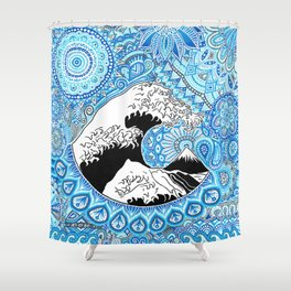 Kanagawa's wave Shower Curtain