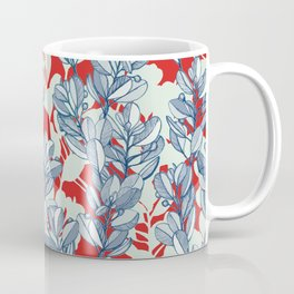 Leaf and Berry Sketch Pattern in Red and Blue Coffee Mug