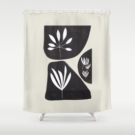 Black & White Minimalist Tribal Floral Fossilized Ink Shapes Dark Abstract Art Shower Curtain