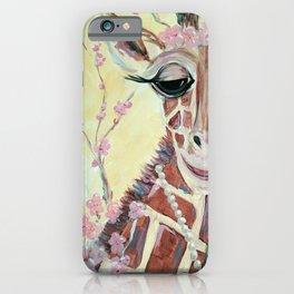 Geraldine the Giraffe - Baby Giraffe in pearls with cherry blossoms iPhone Case