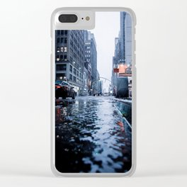 rainy day in New York Clear iPhone Case