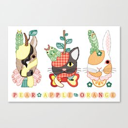 Fruit animals a pear horse, an apple cat, a mandarin orange rabbit, with green caterpillars (remake) Canvas Print