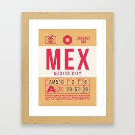 Retro Airline Luggage Tag 2.0 - MEX Mexico City International Airport Mexico Framed Art Print